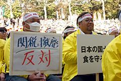 (関税撤廃反対を訴えるJAグループ職員ら=3月12日・日比谷公園での緊急集会より)