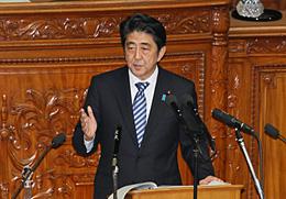 第185回国会で安倍首相が所信表明演説(10月15日)首相官邸HPより
