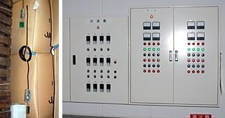 穀温管理の中央制御システム。穀温を計測(左)し、制御盤にデータを送信する