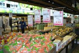 量販店での有機農産物販売ブース