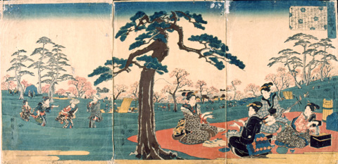 「江戸名所図会 飛鳥山」(歌川広重)((公財)味の素食の文化センター所蔵)