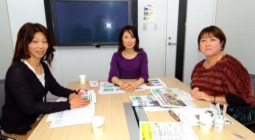 座談会に出席した3人のフレッシュミズ(左から)瀬戸真由美さん、小川千枝子部さん、日向寺恵美さん
