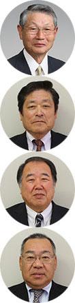 (写真上から)永田正利会長、中出篤伸理事長、竹村良巳専務、北村章人理事