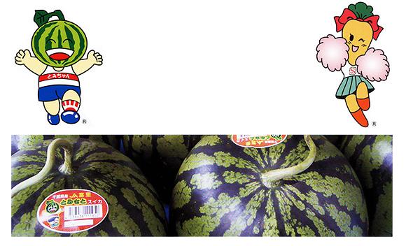 全国ブランドの「とみさとスイカ」。上は富里のキャラクター。左「とみちゃん」と右「さとみちゃん」