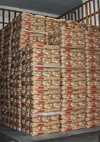 倉庫内に積まれた米の紙袋。これほど高くキレイに積み上げるには熟練の職人技を要する。