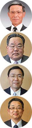 (写真上から)北畑親昭組合長、吉田康弘副組合長、山脇利文専務、前田憲成常務