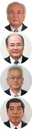 (写真上から)謝花美義会長、砂川博紀理事長、松田保常務、大城勉専務